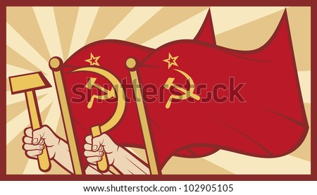 soviet flag poster (ussr flag, hands holding the hammer and sickle)