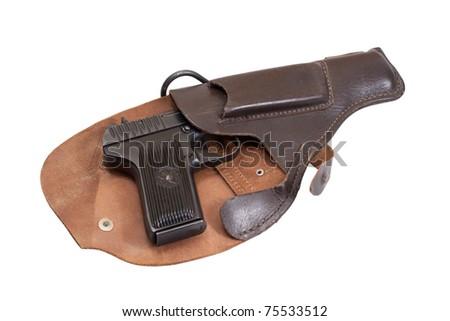 Soviet handgun TT in a holster isolated on a white background