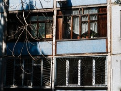 Soviet recess balcony. Soviet residential five-story panel house, built during the Brezhnev era. Soviet architecture.