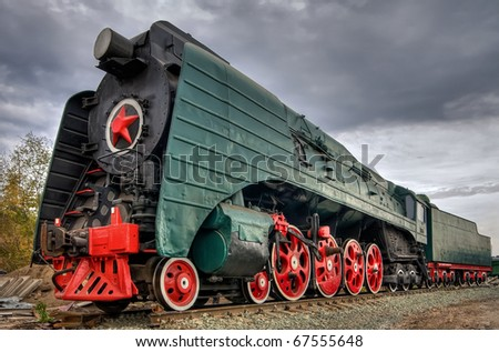 Soviet steam locomotive with red star