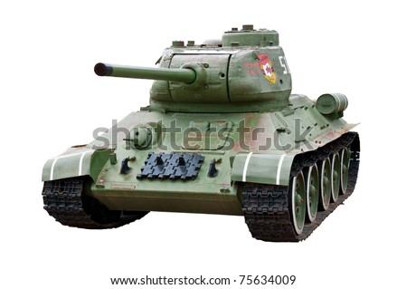 Soviet tank model t34 isolated on white background. Second world war.