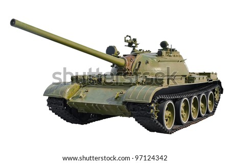 Soviet tank T-54 isolated on a white background.
