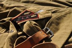 Soviet tankman uniform - tunic, garrison cap, belt, 1941-1942