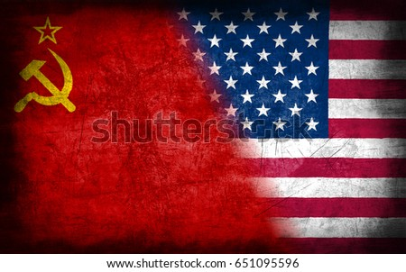 Soviet Union and USA flag, with grunge metal texture