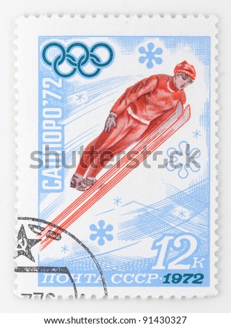 SOVIET UNION - CIRCA 1972: A stamp printed in USSR shows a ski jumper on a Olympic Games in Sapporo,Japan, circa 1972
