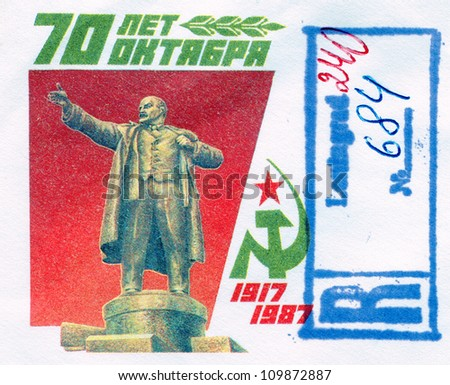 SOVIET UNION - CIRCA 1987: Lenin on Russian vintage stamp, circa 1987