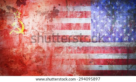 Soviet Union confrontation United States America concept Cold War flag grunge vintage retro style