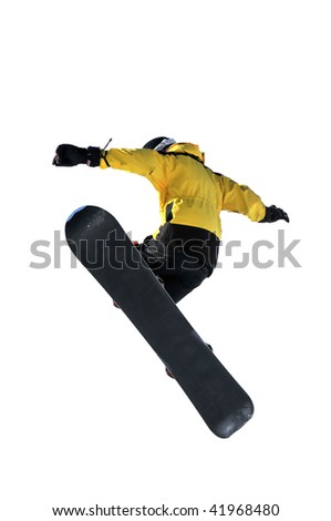 sowboarder jumping isolated against a white background