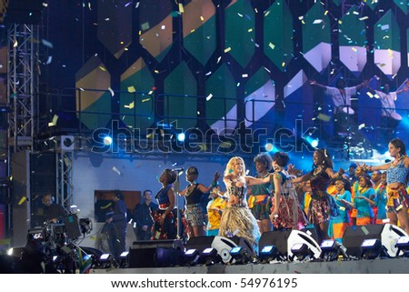 SOWETO - JUNE 10: Singer and dancer, Shakira, performs at Orlando Stadium for the FIFA World Cup Kick Off Celebration Concert on June 10, 2010 in Soweto.