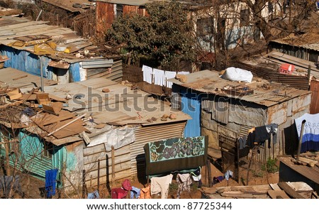 SOWETO, SOUTH AFRICA - AUGUST 15: Shacks of Soweto on August 15 2007. Overcrowding in Soweto which is the most populous black urban poor residential area in the country, is easily seen in this image.