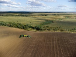 sowing complex of grain crops in a beautiful field