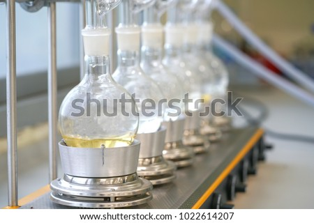Soxhlet Extractor.Percolator-boiler and reflux,distillation flask on heating element.Organic chemistry class.Pharmacy Extraction