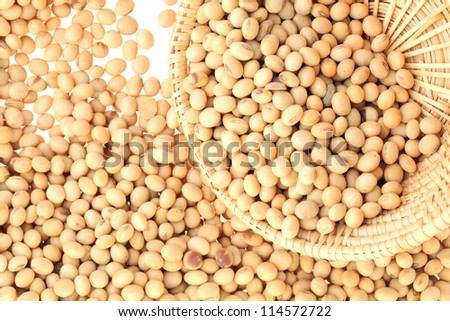 soy bean with basket on white background
