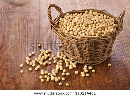 Soy beans in a basket on wooden desk