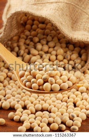 Soy beans  on a wood spoon