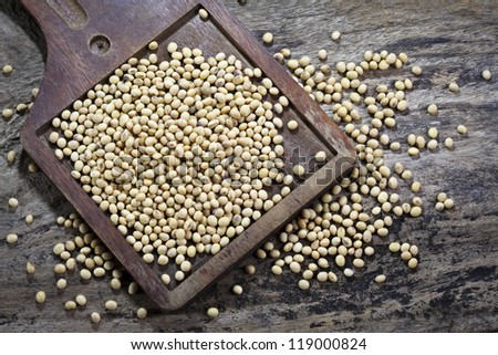 Soy beans on wood plate