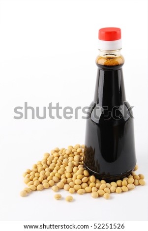 soy sauce and soybean - stock photo