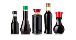 soy sauce bottles isolated on white background