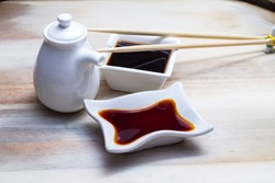 Soy sauce in botle and crockery