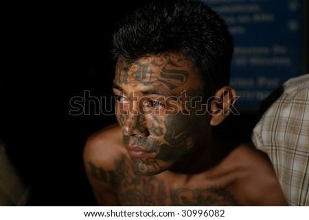 SOYAPANGO, EL SALVADOR, February 8, 2008. Mara Salvatrucha-13 gang member captured in  El Salvador on February 8, 2008 in Soyapango, reportedly one of the most dangerous areas of El Salvador.