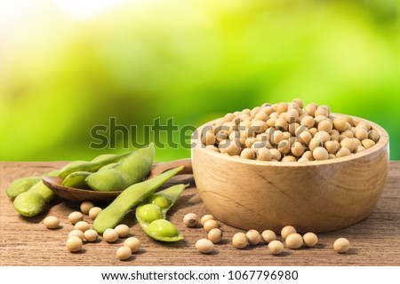 Soybean and green soy in a wooden bowl with bokeh background Stock photo ©