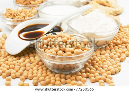 Soybean and soy products used in asian an vegetarian cuisine