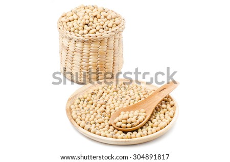 soybean in the wooden plate and wooden basket #304891817