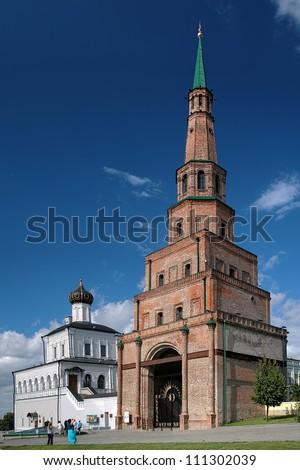 Soyembika Tower and Palace Church in Kazan Kremlin, Tatarstan, Russia
