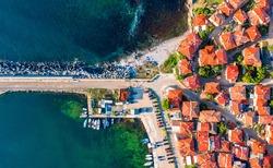 Sozopol, Bulgaria. Aerial view of the old harbor pier seaside town near Burgas