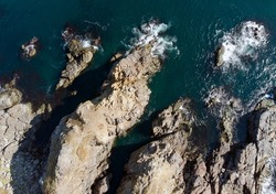 Sozopol, Bulgaria September 2021. Panoramic view by drone to the sand dunes of rocks at cape agalina in the Black Sea, located in Burgas region.