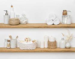 Spa accessories on shelves with copy space for product display