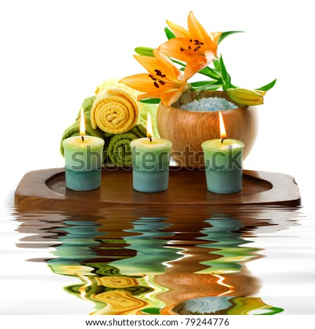 Spa accessories with water reflection