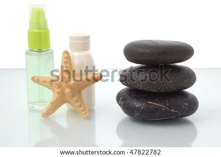 Spa and body care treatment on white background