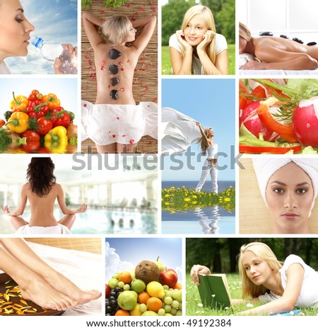 Spa and health collages made of many bright pictures