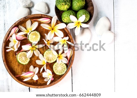 Spa and massage decoration on white background #662444809