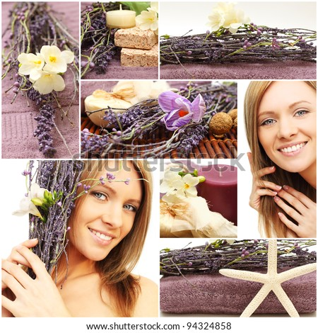 Spa and wellness collage - beautiful woman face, cosmetic and flowers
