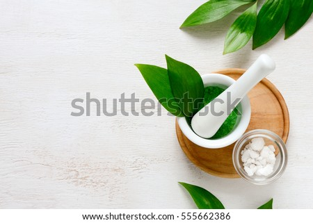 Spa aromatic sea salts, handmade natural spa products concept, view from above, space for a text #555662386