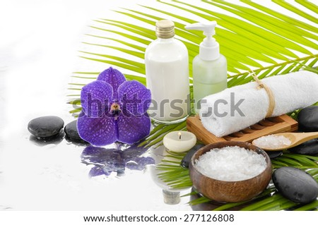 Spa Background with green palm with spa set