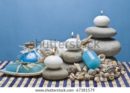 Spa background with hygiene and decorative items.
