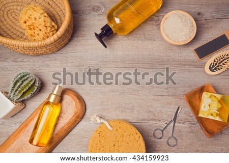 Spa background with soup and oil. View from above. Flat lay