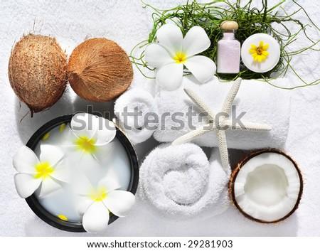 spa beauty exotic tropical flowers sea shells  towels salt soap