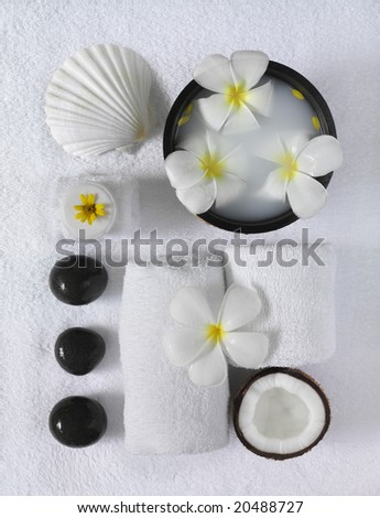 spa beauty objects for body care , white exotic tropical flowers, sea shells,  towels , black stones, coconut
