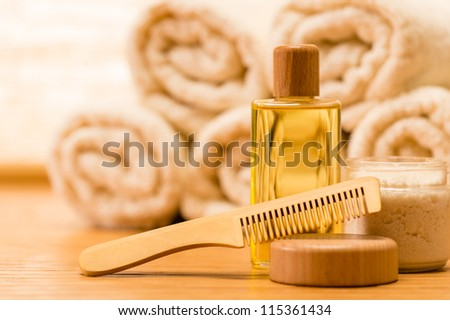 Spa body care products wooden hair brush natural
