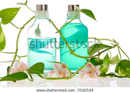 Spa bottles, leafs, and flowers