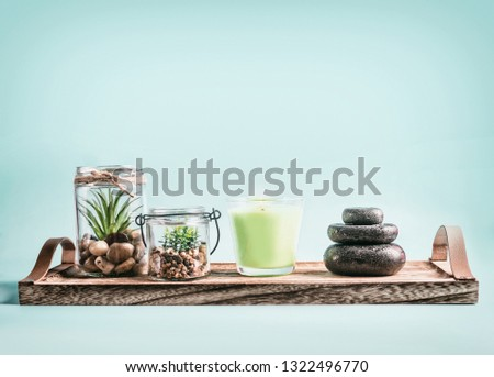 SPA, calmness and releasing stress concept background with green candles, Zen stones and succulent plants on tray at pastel blue background . Healthy lifestyle and wellness concept #1322496770