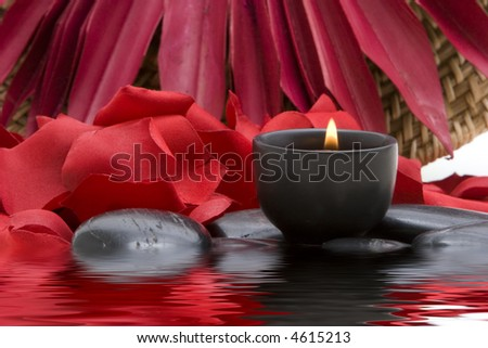 Spa candle and red rose petals