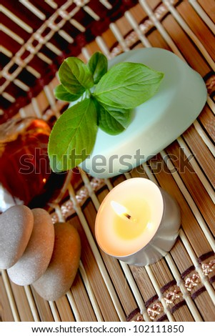 spa candle, oils and mint soap