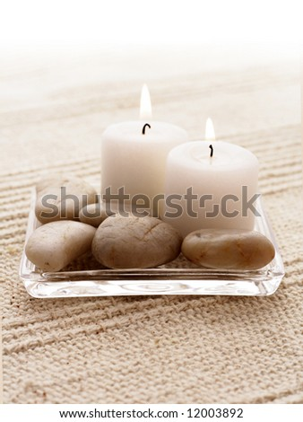 SPA candles. tranquil scene. relaxation spa set