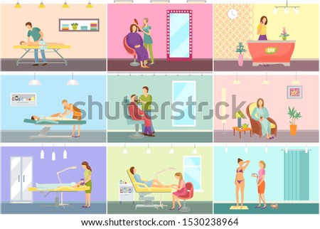 Spa center and beauty salon interior cartoon set raster banner. Equipment and amenity for medical and cosmetic procedures, specialists and clients