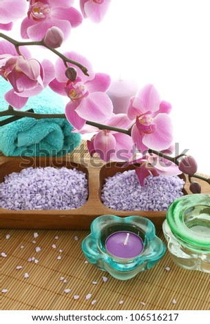 spa composition of bath salt,  candles and orchid flowers - stock photo